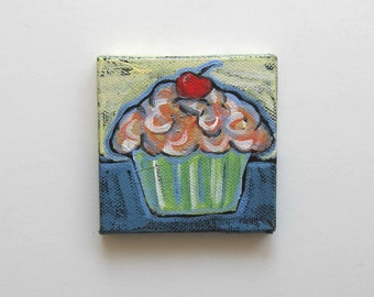 SALE, Pink Cupcake Acrylic Painting on a Mini Canvas with easel, Birthday gift