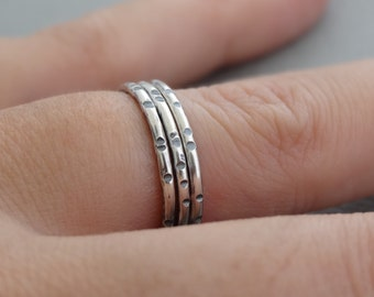 Thin Silver Ring Band Notched Ring oxidized sterling silver ring with notches Black 925 Silver Stackable Ring