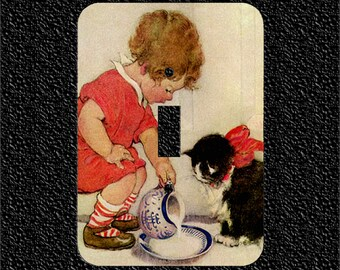 Vintage Little Girl feeding Kitty Cat Light Switch Plate Covers Toggle/Rocker/Outlet