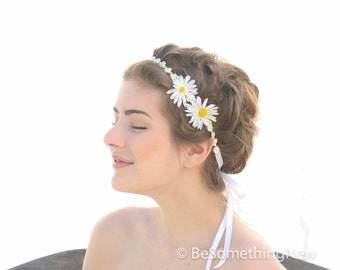 Daisy Chain Flower Ribbon Tie Bohimian Headband, Flower Girl Headband Headbands For Women and Teens, Boho Wedding Hair, Hippie