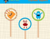 """INSTANT DOWNLOAD Little Monsters Cupcake Toppers Party Circles 2.5""""  PDF"""