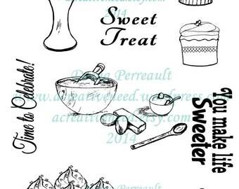INSTANT Download. Digital Stamp Images. SWEET TREATS Cupcakes and Sentiments. Set of 10 Digi Images.