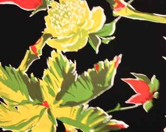 Fantastic Stylized Hawaiian Tropics Design// Rayon Fabric// Helen Wang N.Y./ Floral Yardage// Hawaiian Retro