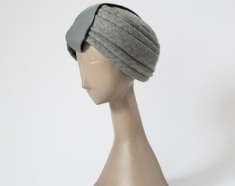 1960s Turban, Vintage Gray Wool Felt & Leather Hat, Emme Designer Couture Millinery, Bonwit Teller, New York