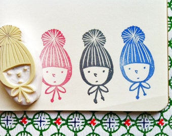 boy in a knitted hat stamp. child hand carved rubber stamp. fairytale birthday. christmas scrapbooking. gift wrapping. holiday crafts