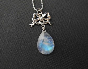 Silver Necklace Rainbow Moonstone Drop with Bow Sterling Silver