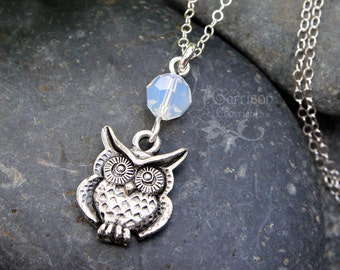 Owl & Opal Moon necklace - antiqued pewter owl under Swarovski white opal crystal - sterling silver chain - free shipping USA
