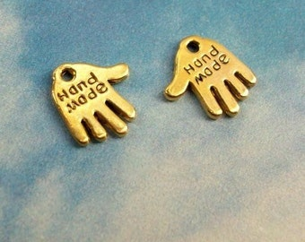 20 hand- shaped 'hand made' charms, antiqued gold tone, 13mm
