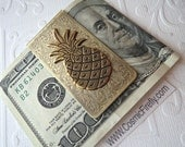 Brass Pineapple Money Clip Steampunk Money Clip Gothic Victorian Tropical Tiki Vintage Inspired Antiqued Brass Men's Accessories Men's Gifts