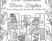 """Adult Coloring Book, Art Nouveau, digital download, black & white - """"S.Mac's Art Nouveau Hairstyles Coloring Book"""""""