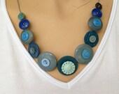 Vintage button necklace, grey blue aqua vintage buttons.