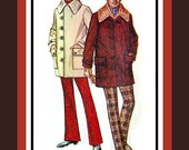 Vintage 1971- Mens Car Coat Sewing Pattern -Great Design- Dramatic Faux Fur Collar - Unique Button Closure -Size Medium-Rare