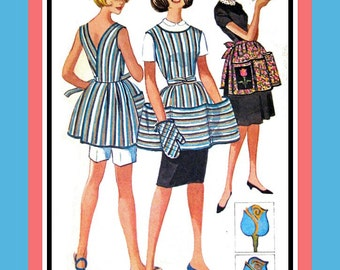 Vintage 1961- WRAP-AROUND APRON- Sewing Pattern-Patch Pockets- Deep V Back-Twist Tie Belt -Half Apron-Rose Applique-Uncut -Size 10-12- Rare