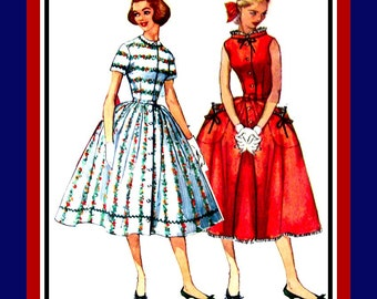 Vintage 1957-THE SABRINA DRESS- Sewing Pattern-Three Styles Patch Pockets-Stand Up Collar-Lace Trim-Twirl Skirt- Bows- Uncut -Size 12- Rare