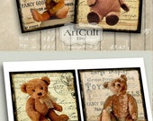 Printable TEDDY BEAR 3.8x3.8 inch size images for Coasters Greeting Cards Gift Tags Vintage ephemera Paper Craft Digital Collage ArtCult