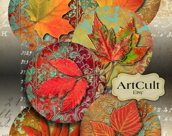 Digital Collage Sheet RUSTY AUTUMN Printable 2.5 inch size circle images for Pocket Mirrors, Magnets, Paper Weights, crafts, ArtCult designs
