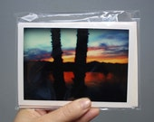 Photo greeting cards. Two blank cards and two envelopes. Sunset in the river