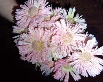 Vintage Flocked Fake Flowers 1970's Pink Fuzzy Artificial Craft Supply Floral Arrangement Kitsch