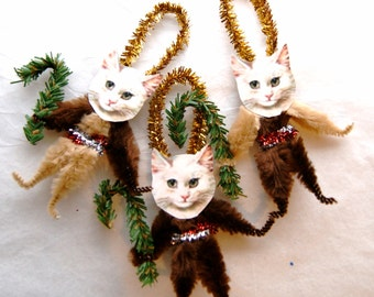 Cat Chenille Ornaments Vintage Style Chenille Ornaments, Pet lover, Trio of cats (121c)
