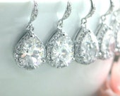 15% OFF - Set of Eight, 8 pairs Pear Teardrop Large Lux Cubic Zirconia White Crystal Wedding Earrings. Wedding Bridal Bridesmaid Earrings