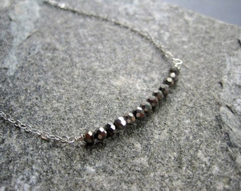 Sterlings Silver Necklace - Sterling Silver Silver Glass Necklace - Sterling Silver Minimal Necklace