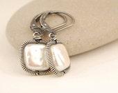 Pearl earrings, handmade wire wrapped jewelry, oxidized sterling silver, square earrings, everyday earrings, June birthstone