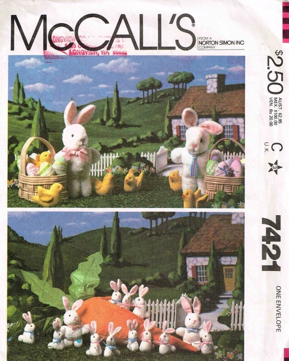 Vintage Miniature Plush Bunny Rabbits, Carrot, Chick, Egg and Easter Basket McCalls 7421 Sewing Pattern