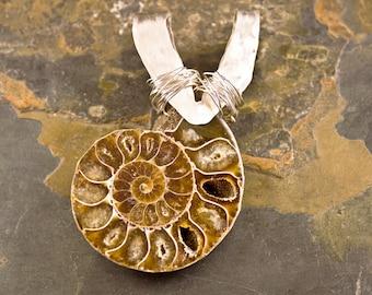 Handcrafted Ammonite Fossil Pendant (P230)