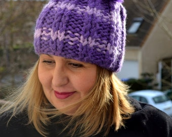 Purple Violet Knitted Winter Hat