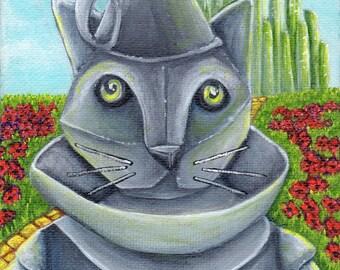 Wizard of Oz, Tin Man Cat, Emerald City Yellow Brick Road, Cat Art Print