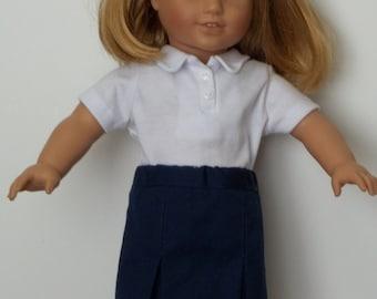 "Navy blue school uniform skirt with white polo shirt fits 18"" dolls like American Girl"