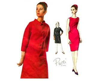 1960s Emilio Pucci Dress, Vogue Couturier Pattern 1490, One Piece Sleeveless Sheath Dress with Jacket, Vintage Pucci