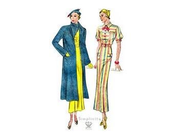 Vintage 1930s Sewing Pattern Simplicity 1418, Womens Frock Dress & Coat Set Bust 34, Flare Skirt, Yoke Bodice, Day Dress, Long Coat Pattern