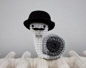 Mr. Gentleman dapper crochet snail amigurumi