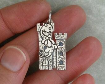Dragon on a castle fine silver pendant charm PMC DTPD