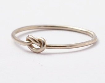 White Gold Knot Ring: Solid 14K Promise Ring, Anniversary Gifts
