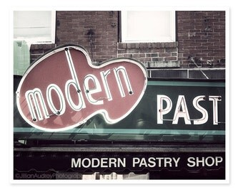 Modern Pastry Shop Sign Photography, Boston Photography, Kitchen Art, retro, Italian café food photograph, bakery photograph, North End