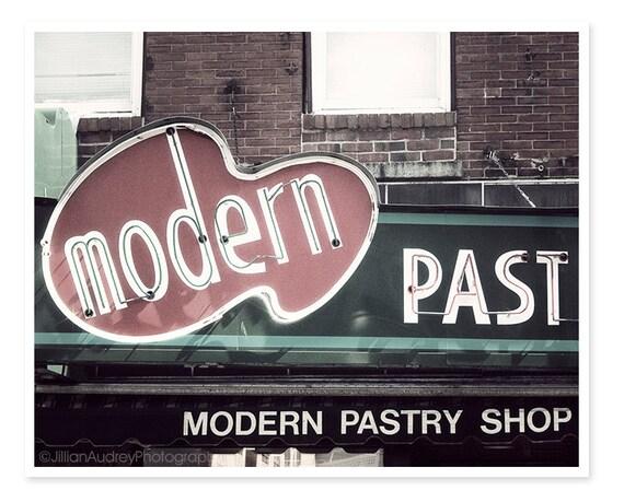 Modern Pastry Shop Sign Photography, Boston Photography, Kitchen Art, retro, Italian café food photograph, bakery photograph, North End