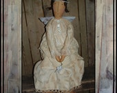 Tattered shabby Victorian angel rag doll metal wings vintage linens HAFAIR OFG country chic