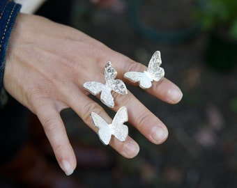 BACK IN STOCK! Butterfly Ring Sterling Fine Silver Jewelry Statement Ring Natural Jewelry Nature Inspired Butterfly Jewelry Gift for Mom Her