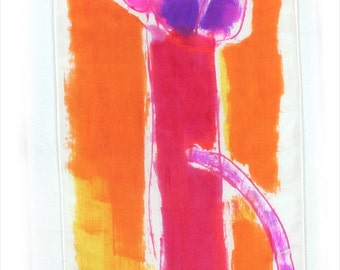 Orange hand painted silk scarf. Silk scarf painted.Bright silk scarf in yellow,orange,red and purple. Abstract painting on silk by Dimo