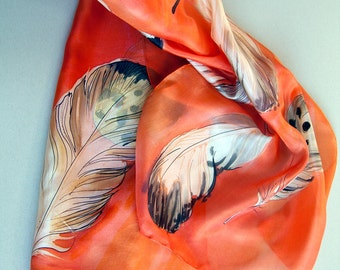Silk Scarf- Coral Feather scarf. Hand painted silk scarf. Long fashion scarf/ Birds lover gift/ Silk scarf painted, Woman accessory OOAK
