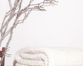 Ready to Ship  Beautiful and Luxuriously Handcrafted CROCHET Blanket Throw Aran a off White