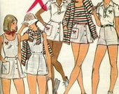 Vintage Butterick 4186 UNCUT Misses Tennis Outfit - Cardigan, Tank Top, T shirt, Skirt, Briefs and Shorts Sewing Pattern