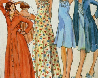Vintage 70s  Butterick 3987 CUT John Kloss Misses Nightgown and Robe Pattern - Size 10