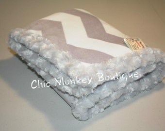 Silver Grey and White Chevron Minky Blanket with Silver Grey Minky Swirl Backing and Edging...Last Minute Gift Idea