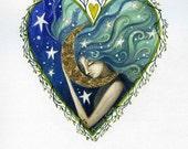 Heart art print.' The Moon and the Stars'  By Amanda Clark.