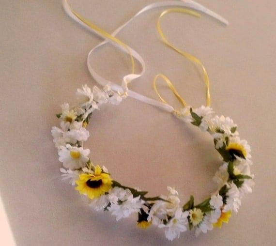 Daisy Flower Girl Halo Yellow White Wedding Bridal Party Hair