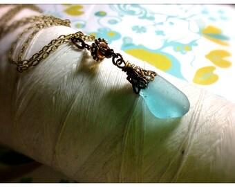 HALF PRICE Titanic Treasures - aqua seaglass brass necklace / seaglass necklace / sea glass jewelry / aqua pendant / aquamarine necklace