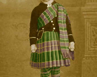Clan Chihuahua, large original photograph of a kilt-wearing young Chihuahua dog